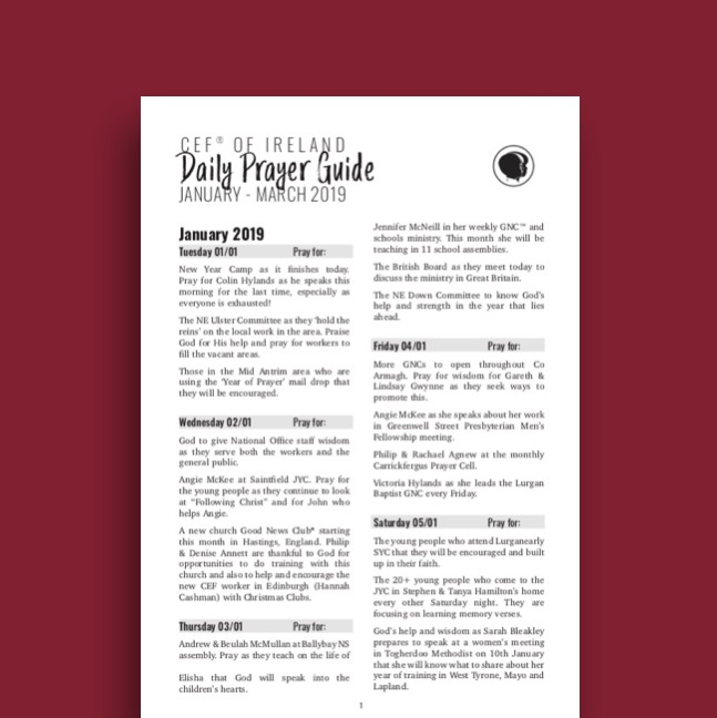 Prayer - Child Evangelism Fellowship of IrelandChild Evangelism